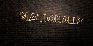NATIONALLY -Realistic Neon Sign on Brick Wall background - 3D rendered royalty free stock image Stock Image