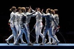 Nationalmannschaften der Frauen von Frankreich und von Russland stockfoto
