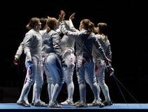 Nationalmannschaften der Frauen von Frankreich und von Russland lizenzfreies stockbild