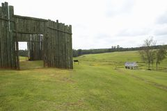 Nationalpark Andersonville eller läger Sumter, en nationell historisk plats i Georgia, plats av den förbundsmedleminbördeskrigfän arkivfoto