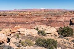 Nationalpark Canyonlands, Ansicht von Slick Rock Foot Trail stockfotos