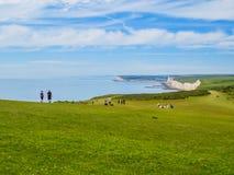 Nationalpark för sju systrar, östliga Sussex, England royaltyfria bilder