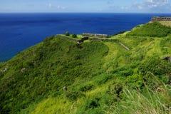 Nationalpark för svavelkullefästning, byggnader i ett ljust solsken, helgon Kitts och Nevis Royaltyfria Bilder