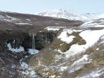 Nationalpark-Landschaft Islands mit Wasserfall und Schnee bedeckte Berge und grüne Hügel lizenzfreies stockfoto