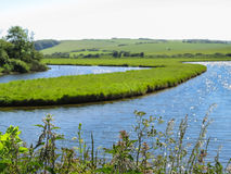 Nationalpark- och Cuckmere för sju systrar flod Östliga Sussex, England Royaltyfria Bilder