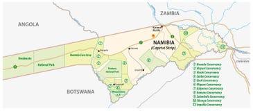 Nationalpark och naturvårdöversikt av den Caprivi remsan i den norr öst av Namibia stock illustrationer