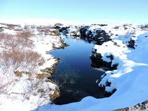 Nationalpark Pingvellir, Island - klares natürliches blaues Wasser, Reflexion, Schnee Lizenzfreies Stockfoto