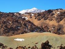Nationalpark Teide, Ansicht von der Wüste auf den Schneegezeiten stockfoto