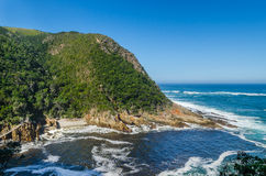 Nationalpark Tsitsikamma, Garten-Weg, der Indische Ozean, Südafrika Stockfotografie