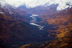 Nationalpark und Reserve Kluane, Tal und Bergblicke Stockfotos