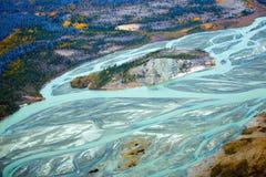 Nationalpark und Reserve Kluane, Tal und Flüsse Stockbilder