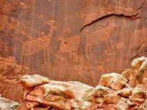 Nationalpark Utah för rev för indianindierFremont Petroglyphs huvud arkivbild
