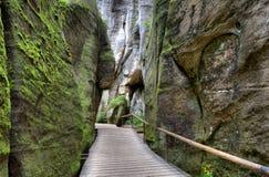 Nationalparken av Adrspach-Teplice vaggar Vagga staden Royaltyfri Bild