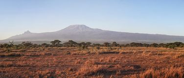 Nationalparkpanorama Amboseli mit dem Kilimandscharo stockbild