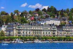Nationalquai quay in Lucerne, Switzerland in springtime Royalty Free Stock Photo
