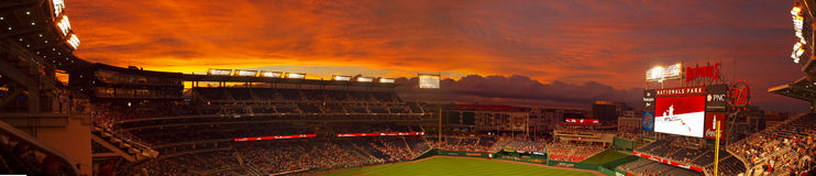 Nationals Park. Dramatic sunset at Nationals Park, home of the Washington Nationals baseball team.  Located in Washington, DC Stock Images