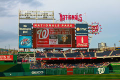 Nationals Park Washington, DC. View of the outfield and scoreboard at Nationals Park in Washington, DC Stock Photos
