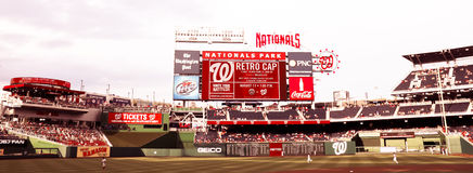 Nationals Park Washington, DC. View of the outfield and scoreboard at Nationals Park in Washington, DC Stock Images