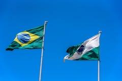 Nationell brasiliansk flagga och flagga av Parana som vinkar i vinden på flaggstång på bakgrunden av klar blå himmel på den solig Royaltyfria Bilder
