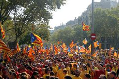 Nationell dag av Catalonia i Barcelona Royaltyfri Bild