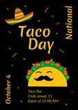 Nationell design för affisch för kafé för tacodagberöm stock illustrationer