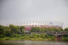 Nationell footbal stadion i Warszawa i Polen, Europa arkivbild