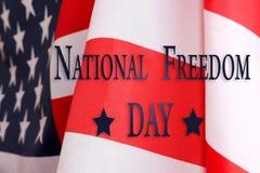 Nationell frihetsdag i Förenta staternabakgrund Smsa den nationella frihetsdagen och USA-flaggan Arkivbild