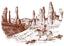 Nationell indianridninghäst med spjutet i hand landskap med berg och maxima Traditionell man inristat royaltyfri illustrationer