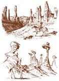 Nationell indianridninghäst med spjutet i hand landskap med berg och maxima Traditionell man inristat vektor illustrationer