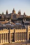 Nationell konstmuseum av Catalonia MNAC i Montjuic Arkivbilder