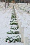 Nationell kyrkogård i Santa Fe med julsnö Arkivbilder