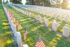 Nationell kyrkogård med en flagga på minnesdagen i Washington, USA royaltyfria bilder