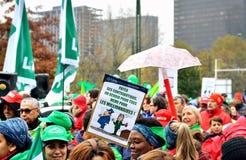 Nationell manifestation mot stränghet i Belgien Arkivfoto