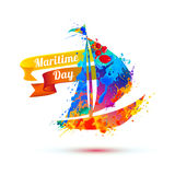 Nationell maritim dag Färgstänkmålarfärg vektor illustrationer