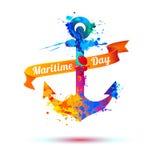 Nationell maritim dag Färgstänkmålarfärg royaltyfri illustrationer