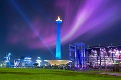 Nationell monument med natthimmel Arkivbild