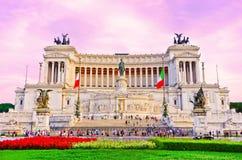 Nationell monument till Victor Emmanuel II i Rome Arkivfoto