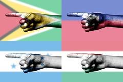 nationell pekande set för fingerflaggor Arkivfoton