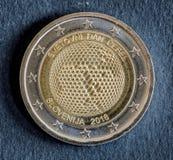 Nationell sida av myntet för euro som två utfärdas av Slovenien 2018 Royaltyfri Fotografi
