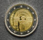 Nationell sida av myntet för euro som två utfärdas av Spanien 2018 Fotografering för Bildbyråer