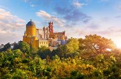 Nationell slott av Pena i Sintra Portugal fotografering för bildbyråer