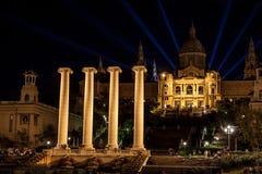 Nationell slott Barcelona vid natt Arkivbild