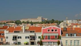 Nationell slott för hyreshusar och Ajuda på kullarna av Lissabon, Portugal royaltyfri bild