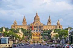 Nationell slott på den Montjuic kullen i Barcelona i Spanien Fotografering för Bildbyråer