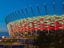 Nationell stadion på natten, Warsaw, Polen Royaltyfria Bilder