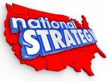 Nationell strategi 3d uttrycker den Unitest tillståndsAmerika översikten vektor illustrationer