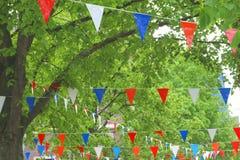 Nationella röda, vita, blåa och orange flaggor, Holland Arkivbild