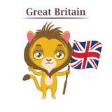 Nationellt djur med den brittiska flaggan Royaltyfria Bilder