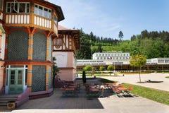 Nationellt kulturellt monumentJurkovicuv hus från 1902 i brunnsortstaden Luhacovice, Tjeckien arkivbilder