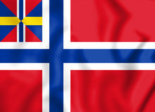 Nationellt och köpman Flag av Norge 1844-1899 royaltyfri illustrationer